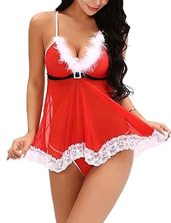ALLUROMAN Womens Christmas Lingerie Xmas Santa Babydoll Red Chemises Set Red S