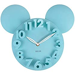 MEIDI CLOCK Modern Design Mickey Mouse Big Digit 3D Wall Clock Home Decor Decoration - Blue