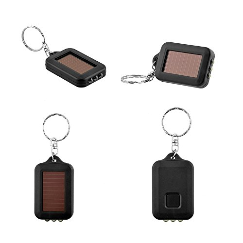 Sedeta mini solar power lights Torch Flashlight lamp 3 LED Lighter Keychain Keyring Flashlights strobe light for (Auto Rescue Flashlight)