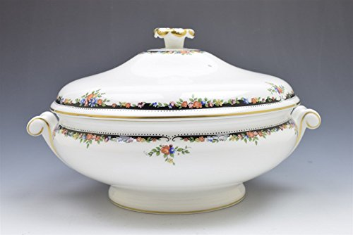 Wedgwood Osborne R4699 White Black Floral Round Covered Vegetable Serving Dish