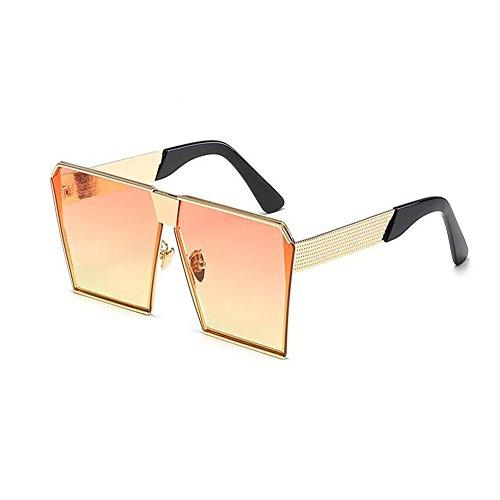 Marco Gafas Gafas Hzjundasi Mujer sol Cuadrado de Oro naranja Mujer Hombre Claro Hombre Metal UV400 Conducción de o Pescar Gafas sol y Vendimia fYPxSwnY7q