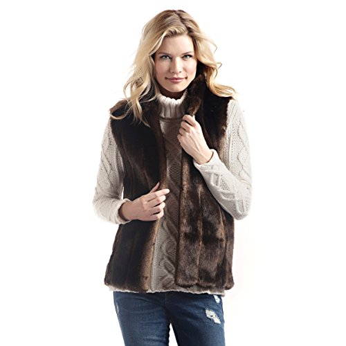 Donna Salyers' Fabulous Furs Women's Standard Faux Fur Fashion Hook Vest, Sable, -