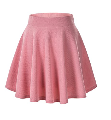 Afibi Casual Mini Stretch Waist Flared Plain Pleated Skater Skirt (Large, Pink) ()