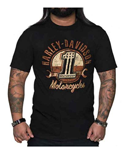 Harley-Davidson Men/'s Skull /& Wrenches Crew Neck Short Sleeve Tee Black