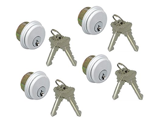 4-Pack (Same Keys) Mortise Lock Cylinders, Adams Rite Cam for Storefront Doors in Aluminum