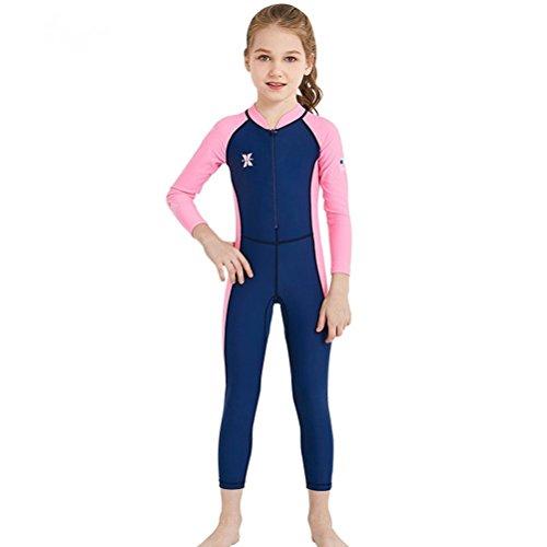 DIVE & SAIL Girls Long Sleeve Swimsuit Rash Guard Sets Surf Suits Kids UV Sun Protection Swimwear for 3T 4T Dark Blue S