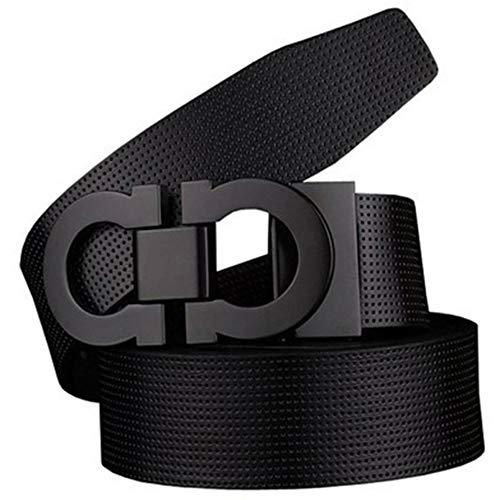 Men's Smooth Leather Buckle Belt 35mm Leather up to 42inch (105-115cm for Choose) 110cm Black-Black1