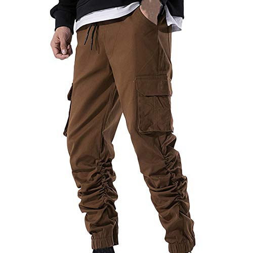 New Pocket Pantaloni Casual Caffè Pure Cargo Uomo Daily Pants Timemean Sport Vincitore Autunno Tqg7WE