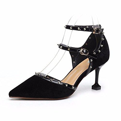 AJUNR Sharp Elegante Multa Salvaje Moda black Hembra Sandalias Heels Remaches Hebillas Muelle High 7cm Vacío Lado Transpirable AUArvwPq