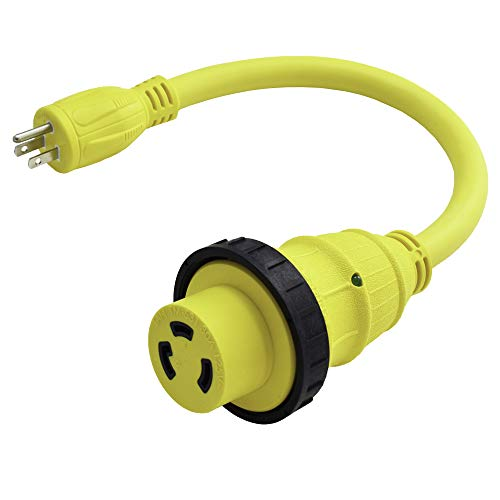 Marvine Shore Power Cord Adapter 15Amp Male 5-15P to 30Amp Lock Female L5-30R Pigtail 1.5Ft