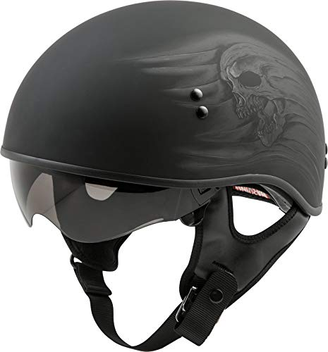 GMAX GM-65 Ritual Naked Adult Half-Face Street Motorcycle Helmet - Matte Black/Medium (Best Helmet For Naked Bikes)