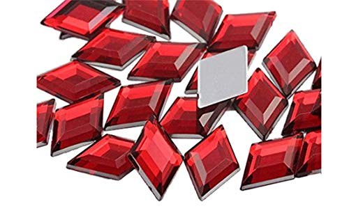 18x11mm Flat Back Diamond Acrylic Gems Pro Grade - 35 Pieces (Red Ruby H103) (Red X Teen Titans)