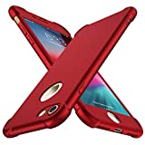 iPhone 8 Case, iPhone 7 Case, with[2 x Tempered Glass Screen Protector] ORETech 360° Full Body Shockproof Protection Cover Ultra-Thin Hard PC + Soft Rubber Silicone for iPhone 7/8-4.7''- Red