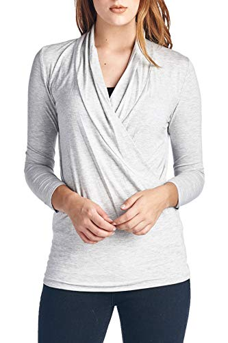 Pregnant Ash Grey T-shirt - Women's 3/4 Sleeve Surplice Blouse Top - Cross Over, Nurisng, Maternity, Wrap, Casual (X-Large, Ash Grey)