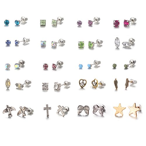 - 20 Pairs Stainless Steel Mixed Color earrings cute animal heart star stud earrings set