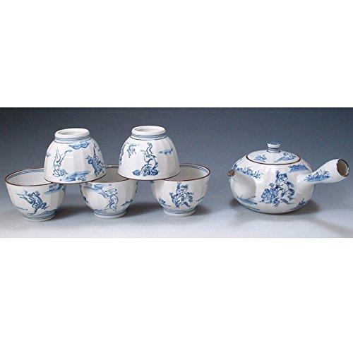 Kiyomizu-kyo yaki ware. Set of Japanese yunomi teacup and kyusu teapot kozanji with wooden box. Porcelain. kymz-JIK138