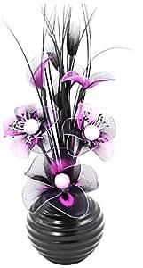 Artificial Flower - Juego de flor sintética y jarrón (32 cm, nailon y cerámica), color morado y negro