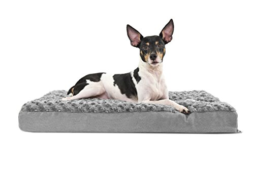 (FurHaven Pet Dog Bed | Deluxe Memory Foam Ultra Plush Mattress Pet Bed for Dogs & Cats, Gray, Medium)