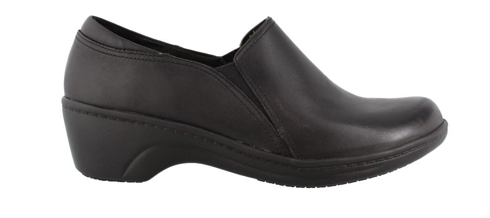 CLARKS Women's Grasp Chime Slip-On Loafer, Black Leather, 7 M US by CLARKS
