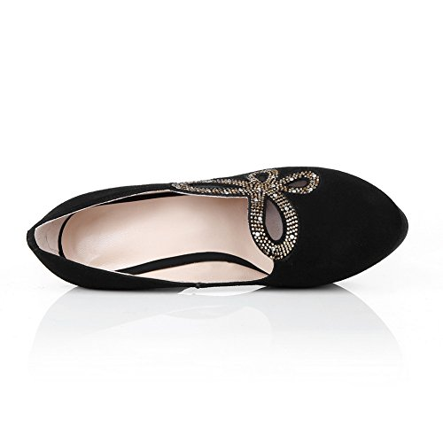 AdeeSu Womens Platform Round-Toe Comfort Suede Pumps Shoes SDC04398 Black pnl3iW9e
