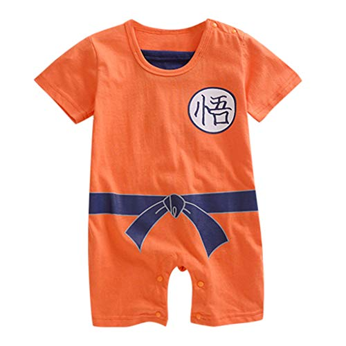 Baby Girl Boy Kid Cartoon Printed Short Sleeves Romper Costume Bodysuit (Orange,90)