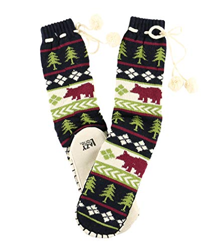 (Bear Fair Isle Womens Mukluk Warm Winter Bootie Sock by LazyOne | Cabin Moccasin Socks for Ladies (L/XL))