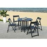 Safavieh Pat7000C Outdoor Set, Color Black, Pack of/Paquete de 5