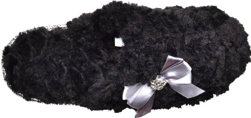 Club Charter Pile Bow Slippers Black Women's with Sculpted B7R8xdRqnO