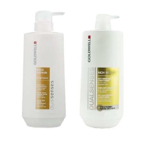 (Goldwell Dual Senses Rich Repair Anti-Breakage Shampoo & Conditioner Liter Duo)