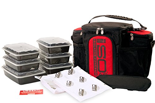Isolator Fitness 3 Meal ISOBAG Meal Prep Management Insulated Lunch Bag Cooler with Stackable Meal Prep Containers, ISOBricks, and Strap - MADE IN USA (Black/Red Accent)