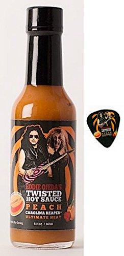Twisted Hot Sauce Peach Carolina - Reaper Pepper 5 FL OZ Medium Heat from Eddie Ojeda Twisted Sister Lead Guitarist - w/Dee Snider/Ojeda Signature Bulls Eye Guitar Label with Guitar Pick (Peach, 5)