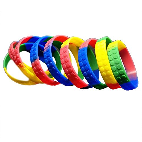 36 Building Block Novelty Bracelets for Lego Themed Children's Parties, Party Favor Goody Treat Bag Toys