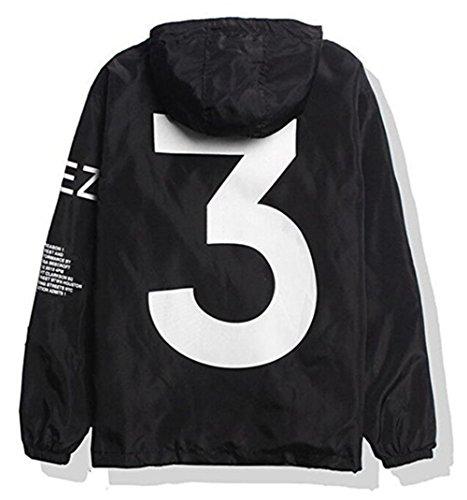 Showlovein Men Waterproof Letter Print Jacket Hip-Pop Long Sleeve Hooded Anti-Sun Hoodie Streetwear(Black White, XS-XL) ()