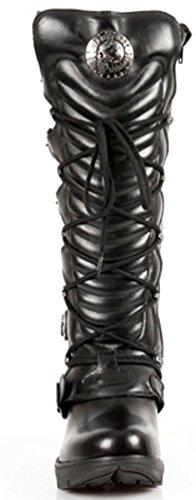 Newrock Ladies New Rock M.TR004-S1 Stiefelette Aus Schwarzem Leder mit Schnallenverschluss Aus Spitze mit Knee-Reißverschluss