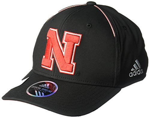 adidas NCAA Nebraska Cornhuskers Adult Men Coach's Structured Flex, Small/Medium, Black - Black Campus Adjustable Hat