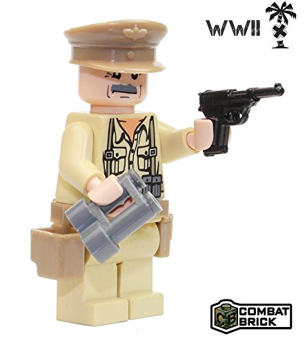 CombatBrick German Wehrmacht Africa Corps WW2 Officer : WWII Action Figure and Weapons - Custom Military Brick Builder Minifigures ()