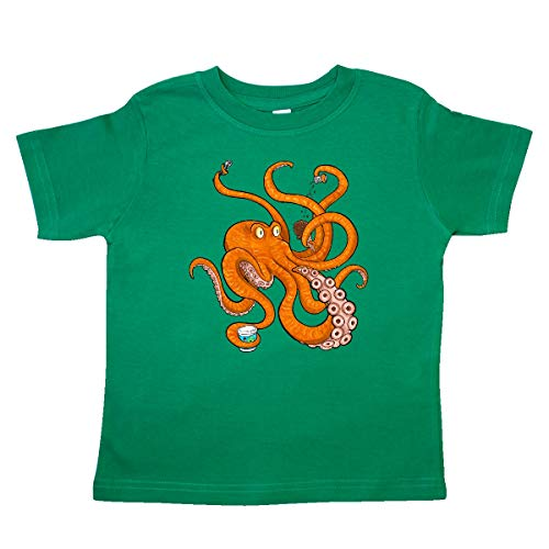 inktastic - Giant Orange Octopus Eating Ice Toddler T-Shirt 4T Kelly Green 36521