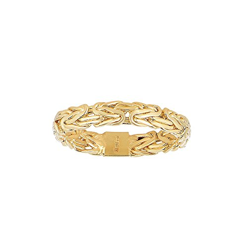 14k Yellow Gold 4.1mm Shiny Byzantine Band Type - Size 7 Ring