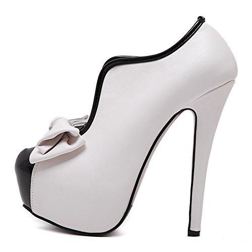 Manyis Lady Bowknot Platform Tacco Alto Pompe Alla Caviglia Colore Giuntura Scarpe Da Festa 9 B (m) Us White