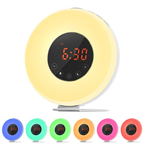 Ifecco Wake-up Light Alarm Clock with Sunrise and Simulation, LED Moon Night Plus 7 Color Changing Support FM Radio Alarm, Touch Control