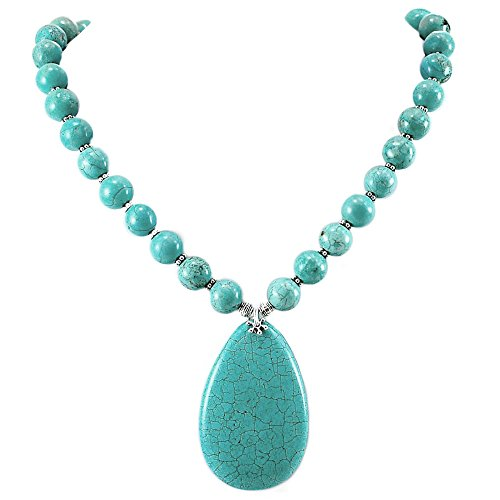 002 Ny6design Blue Magnesite Turquoise & Large Pendant Necklace w/Silver Plated Toggle 18.5