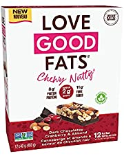 Love Good Fats Plant-Based Bars – Chewy Nutty Dark Chocolatey Cranberry & Almond – Keto-Friendly Protein Bar with Natural Ingredients – Low Sugar, Low Carb, Non GMO, Gluten & Soy Free Keto Snacks 12 - Pack