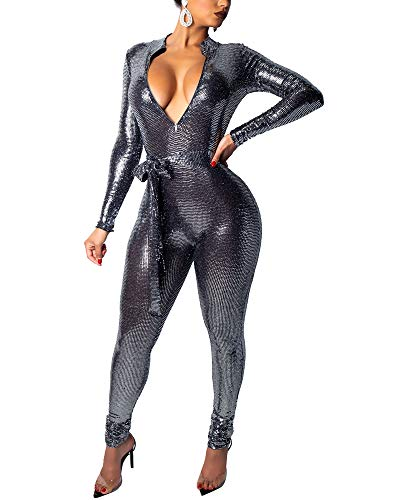 MS Mouse Womens Sparkly Sequin Long Sleeve Party Clubwear Romper Jumpsuit S Silver ()