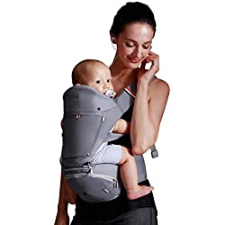 Bebamour Baby Carrier with Hip Seat 6 in 1 Ergonomic Baby Carrier Backpack 0-36 Months (Grey)