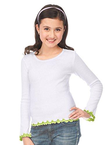 Kavio! Big Girls 7-16 Lettuce Edge Long Sleeve Top White/Lime XL - Lettuce Edge T-shirt