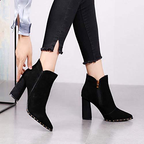 HBDLH Damenschuhe Damenschuhe Sind Einfache High Hart Ferse Kurze Stiefel High Einfache Heels Martin Stiefel 8Cm 2b0bce
