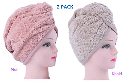 (2pack) IvyMei Microfiber Hair Drying Towel Coral Fleece pineapple Hair Towel Ultra Soft Absorbent Anti Frizz Sleep Hair Wrap Turban Quick dry Compact Hair shower Cap Head Towel (pink+khaki)