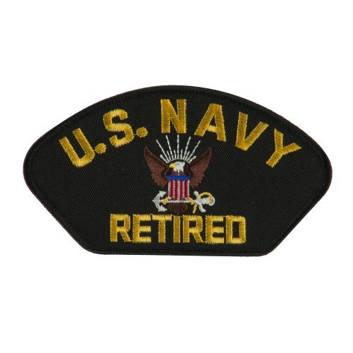 Big Size Retired Military Large Patch - Black Navy OSFM