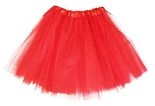 Girls Classic Elastic 3, 4, 5 Layered Tutu Ballet Soft Tulle Costume Skirt (9-13 Years, Classic-Red)]()