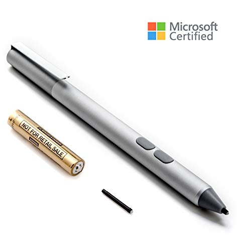 Surface Pen Microsoft Certified, Aluminium Body 4096 Pressure Sensitivity, 2 Soft Nibs for Microsoft Surface 3/4/5/6, Surface Pro 3/ Pro 4/Pro 6/Pro(2017), Surface Book, Surface Laptop/Studio (Silver)